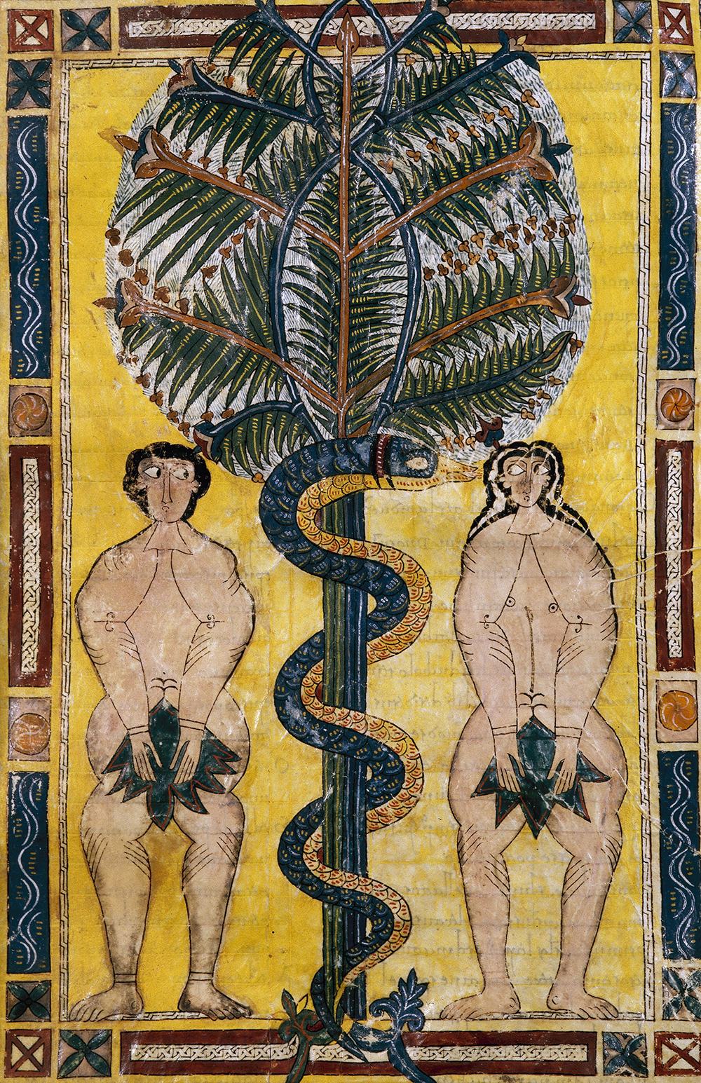 Adam and Eve tempted by the serpent, detail of a miniature from Beatus of Liébana's Commentary on the Apocalypse.