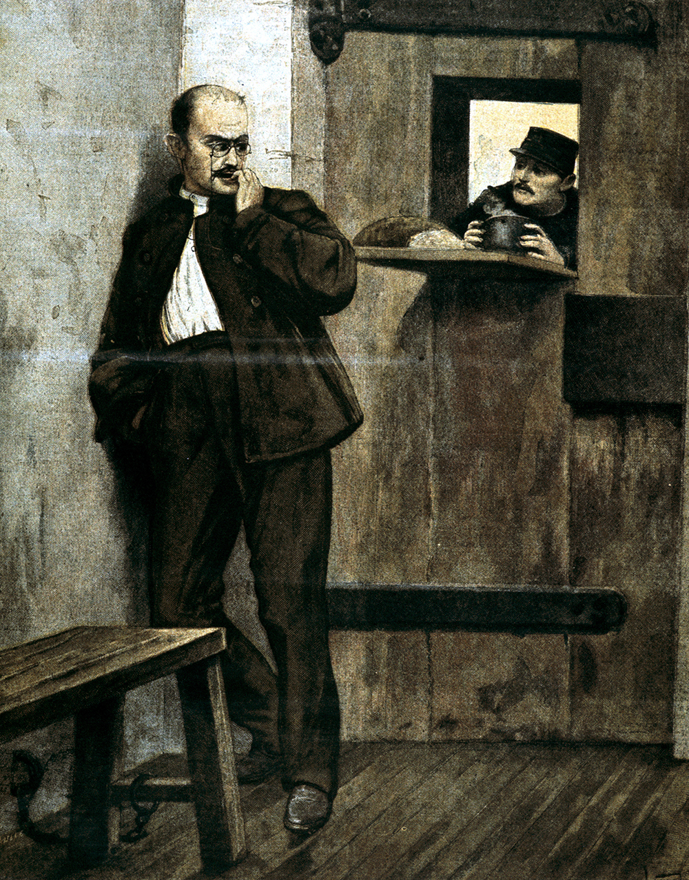 Alfred Dreyfus in Prison, engraving by Fortuné Méaulle after Lionel-Noël Royer, 1895. © HIP/Art Resource, NY.