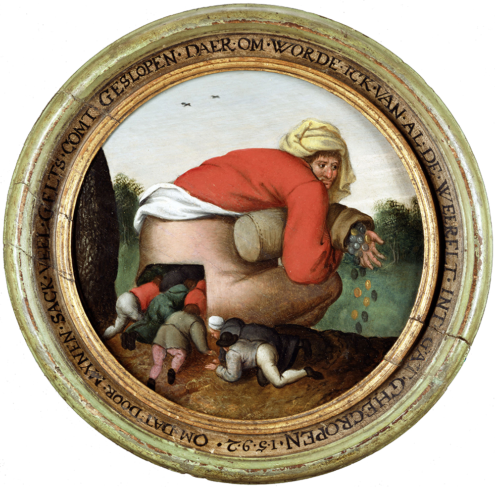 Man with the Moneybag and Flatterers, by Pieter Brueghel the Younger, c. 1592. © HIP / Art Resource, NY.
