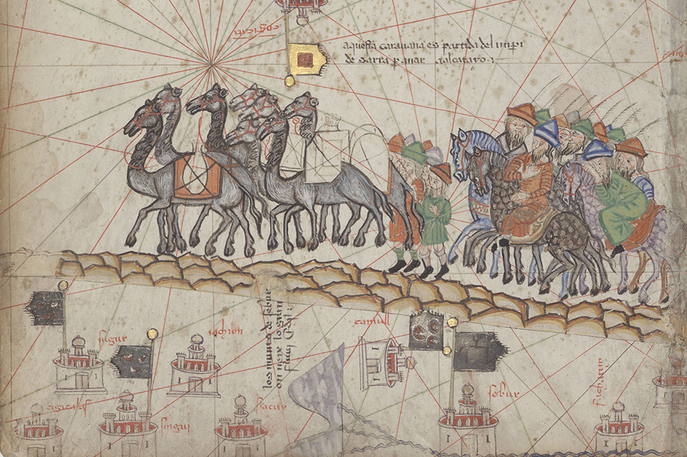 Caravan traveling along the Silk Road, detail from the Catalan Atlas, c. 1375. © Bibliothèque Nationale de France/HIP/Art Resource, NY.
