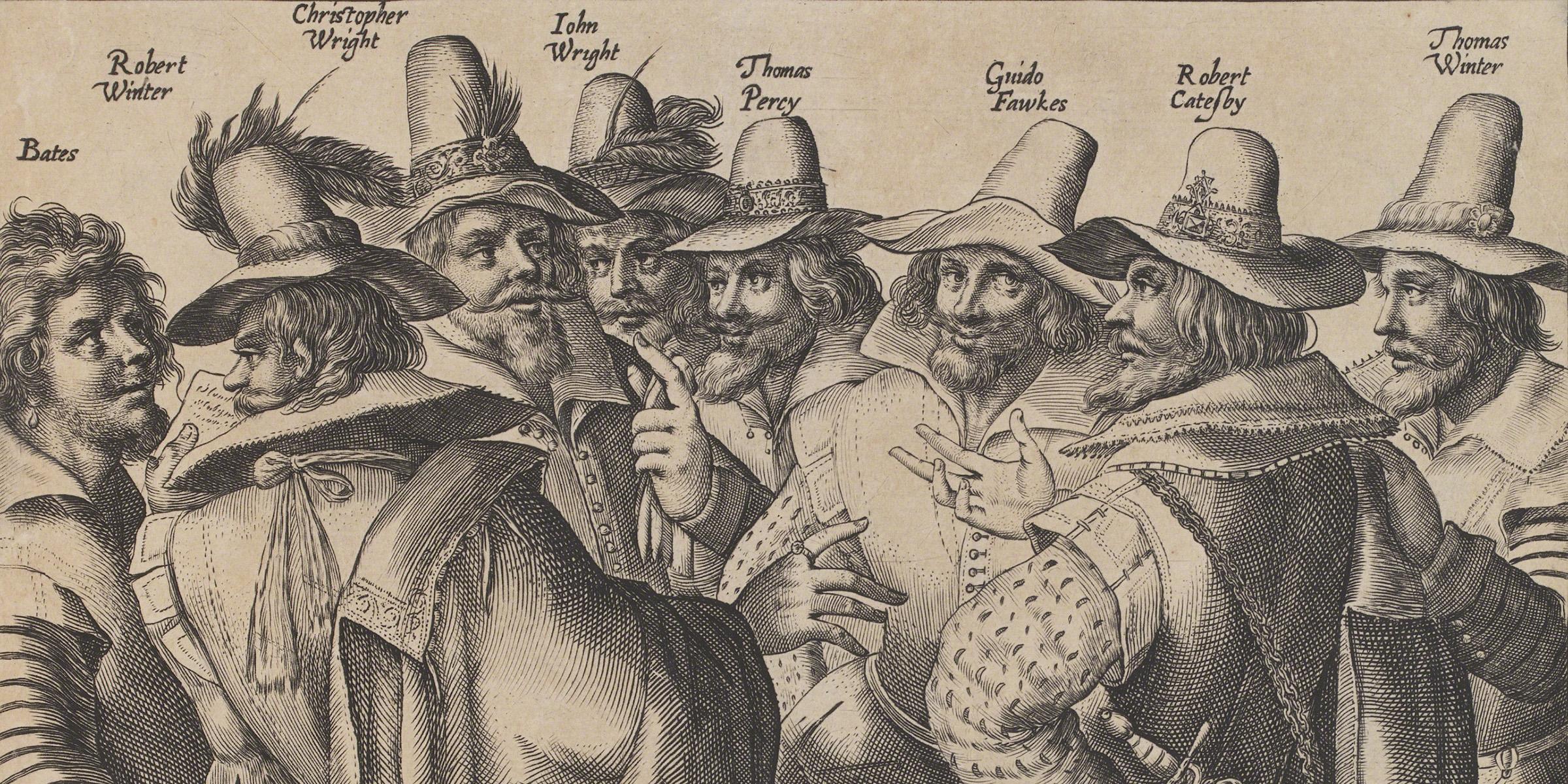 The Gunpowder Plot Conspirators (detail), by Crispijn de Passe the Elder, 1605. © National Portrait Gallery, London/Art Resource.