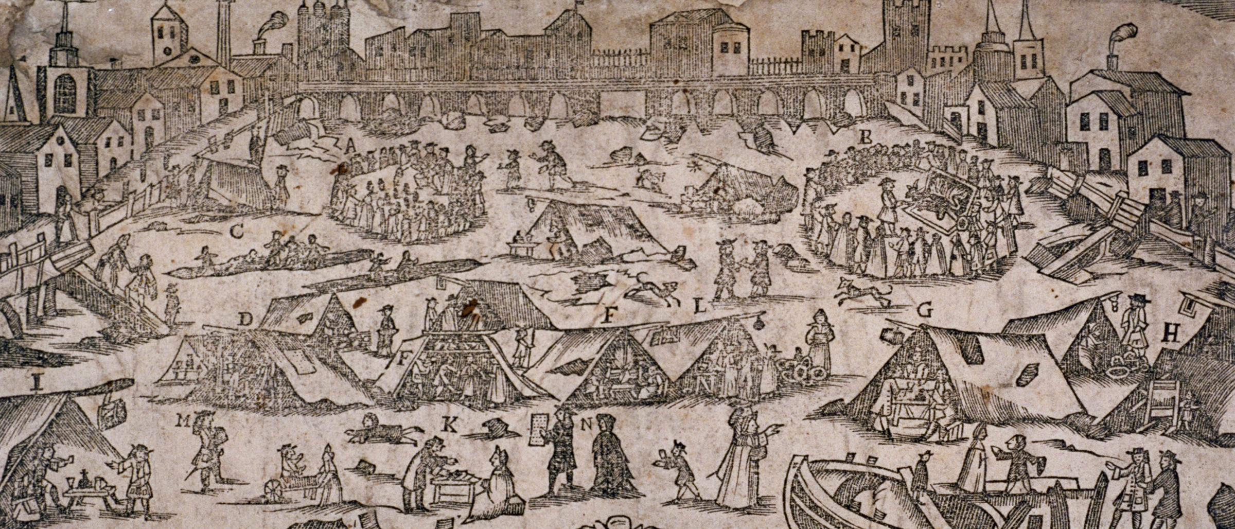 Frost fair on the River Thames, London, 1716. © HIP / Art Resource, NY.