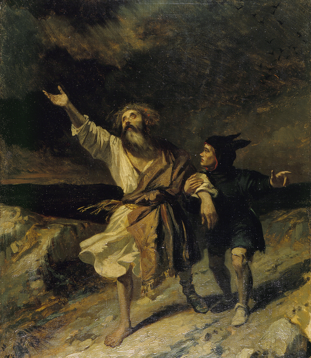 King Lear and the Fool in the Storm, by Louis Boulanger, 1836. © RMN-Grand Palais / Art Resource, NY.