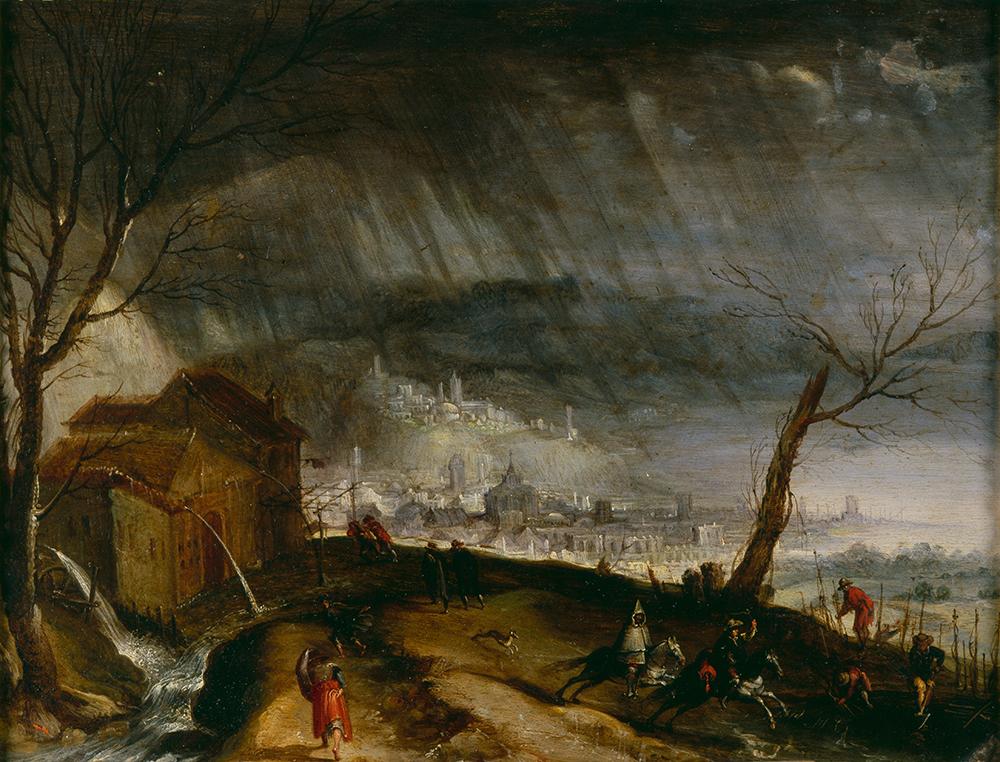 Thunderstorm and Fleeing Horsemen, Flemish School, seventeenth century. © Cameraphoto Arte, Venice/Art Resource, NY.