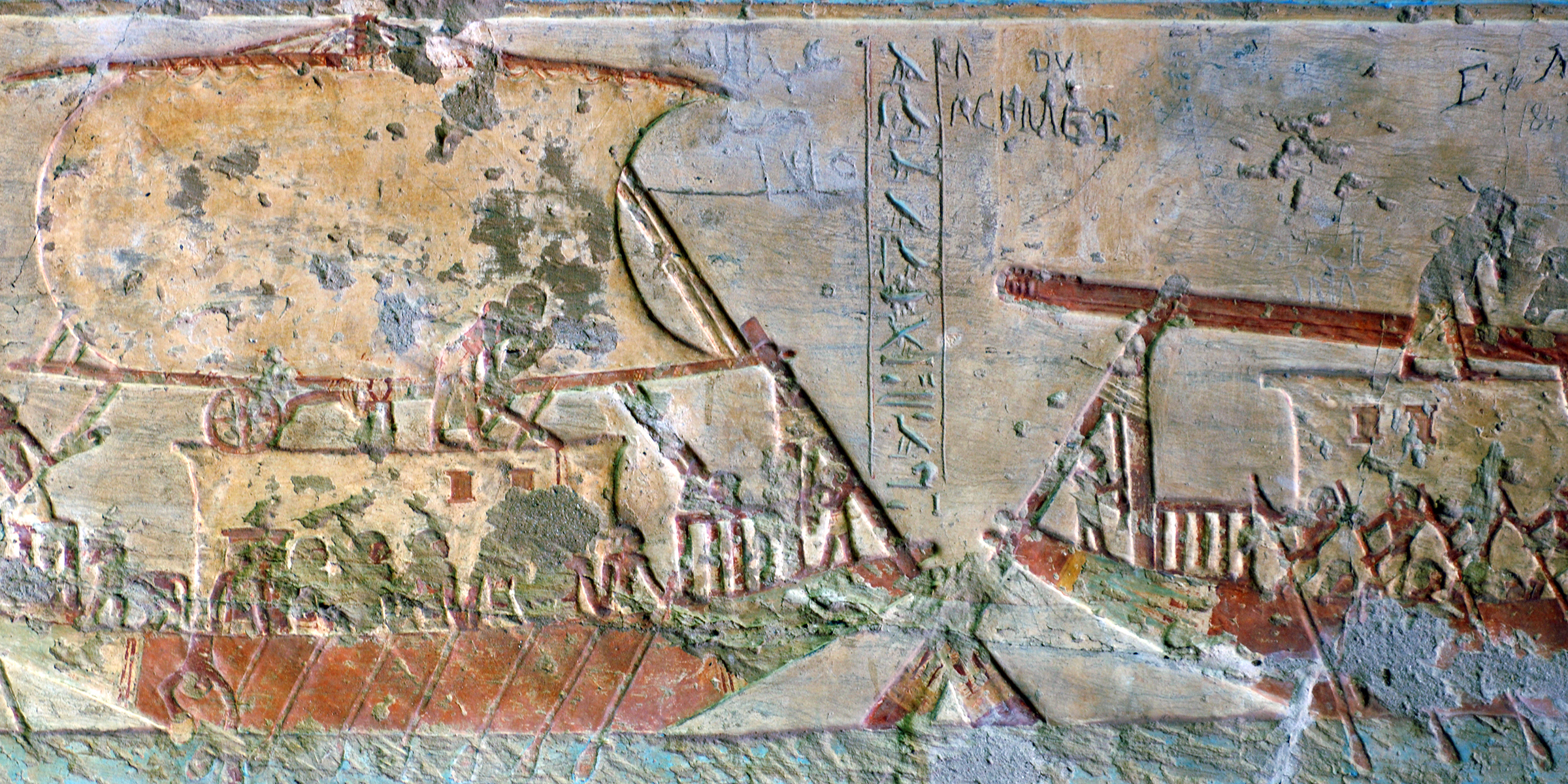 Ships loaded with grain, frieze from the Tomb of Paheri, Egypt, c. 1380 BC. © François Guenet / Art Resource, NY.