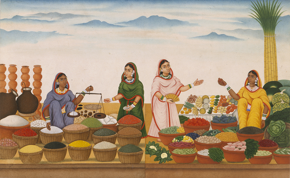 Women selling rice and vegetables in a bazaar, by Shiva Dayal Lal, c. 1850. Victoria and Albert Museum. © V&A Images, London/Art Resource, NY.