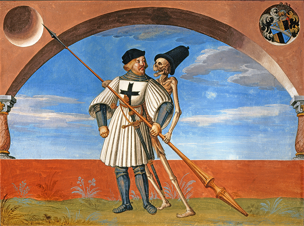 Death and a Knight of the Teutonic Order, by Albrecht Kauw the Elder after Niklaus Manuel-Deutsch, 1649. © Alfredo Dagli Orti / Art Resource, NY.