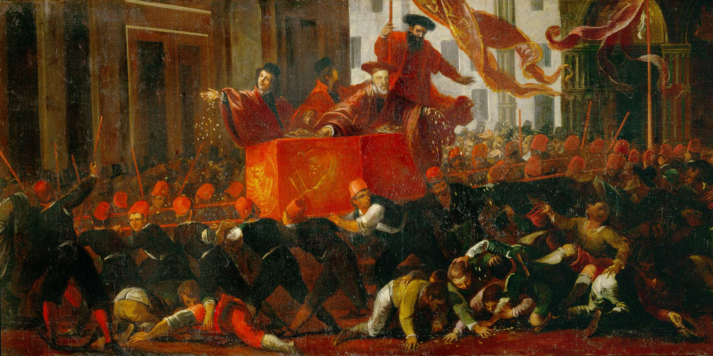The Doge Throws Coins Among the Crowd (detail), Venice, sixteenth century.