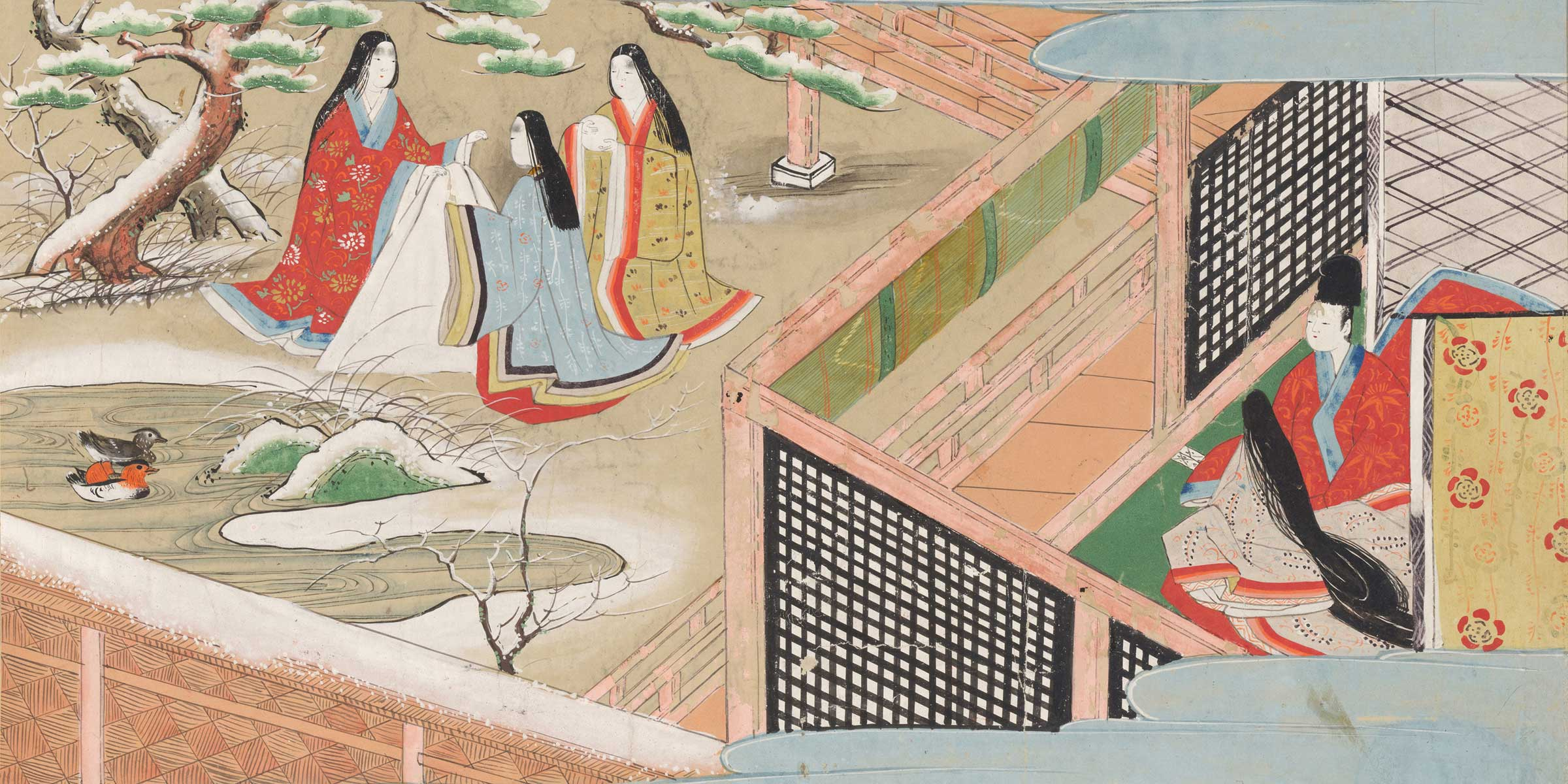 Illustration of a scene from Murasaki Shikibu's The Tale of Genji, by Ryujo, 1594.