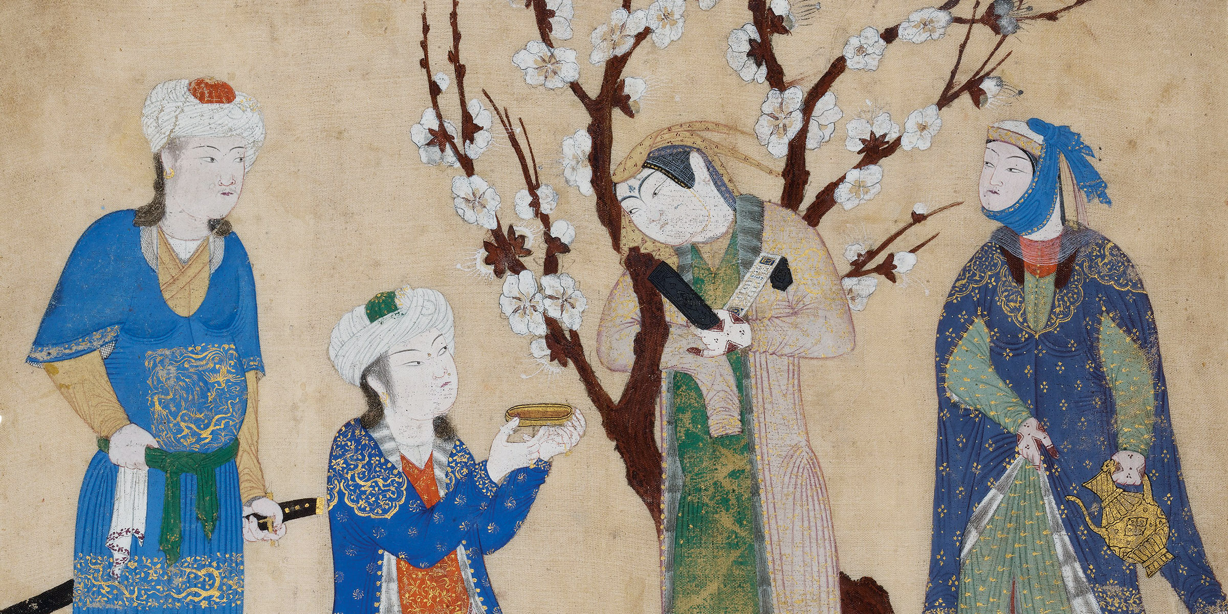 Wine Drinking in a Spring Garden, Persian silk album leaf, c. 1430.
