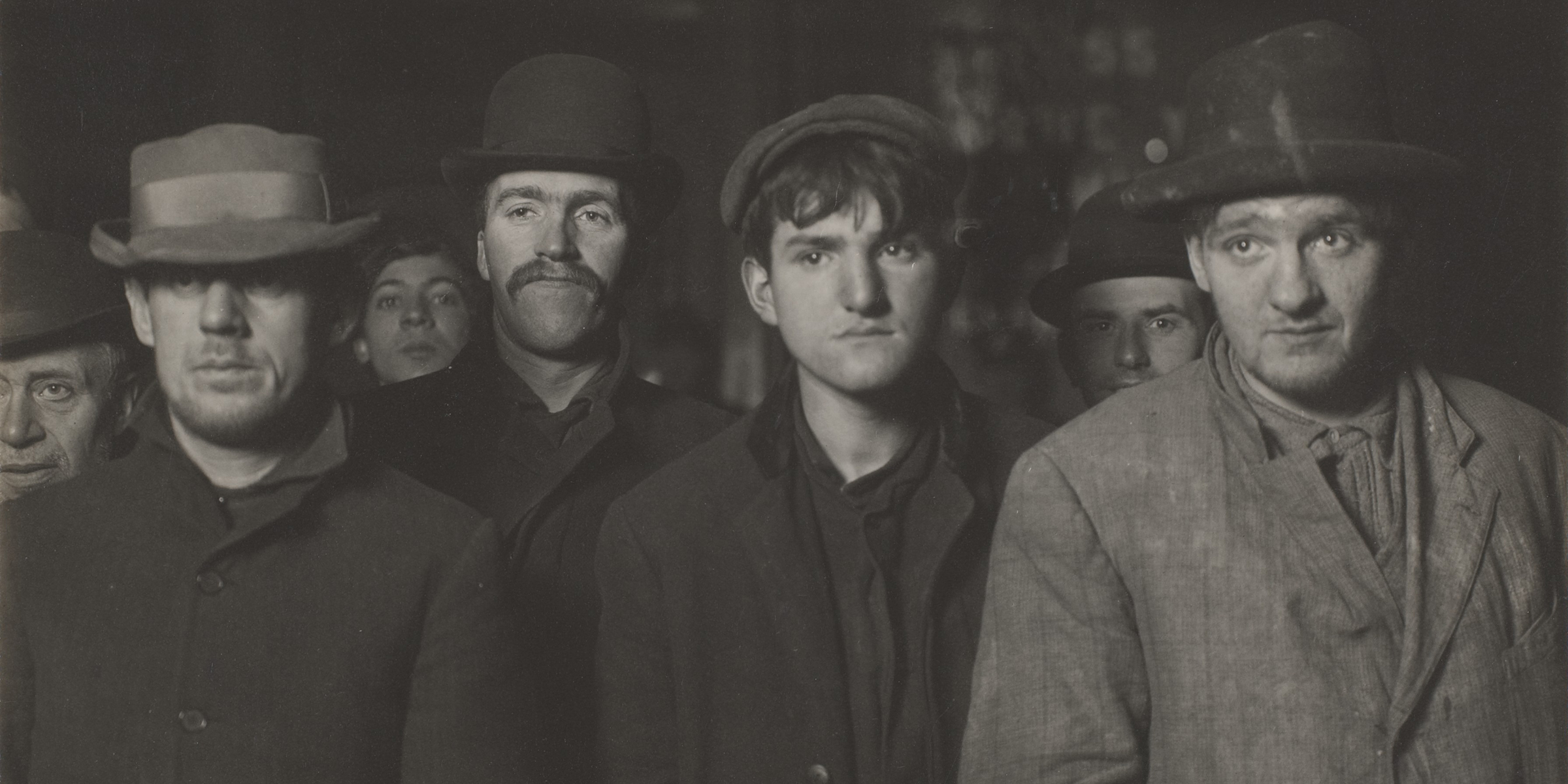 Midnight at the Bowery Mission Bread Line (detail), by Lewis Hine, c. 1906. The Metropolitan Museum of Art, gift of John C. Waddell, 1998.