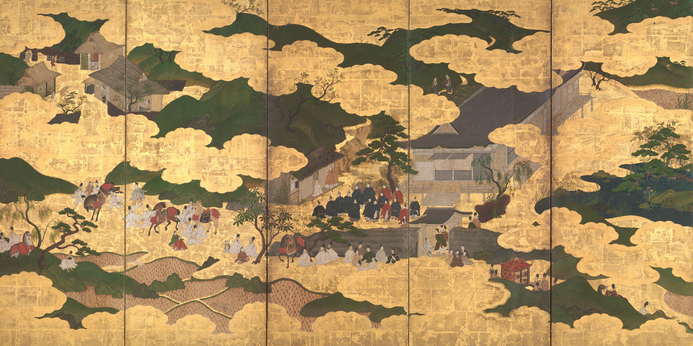 Japanese folding screen depicting a scene from the Tale of the Heike, seventeenth century. The Metropolitan Museum of Art.