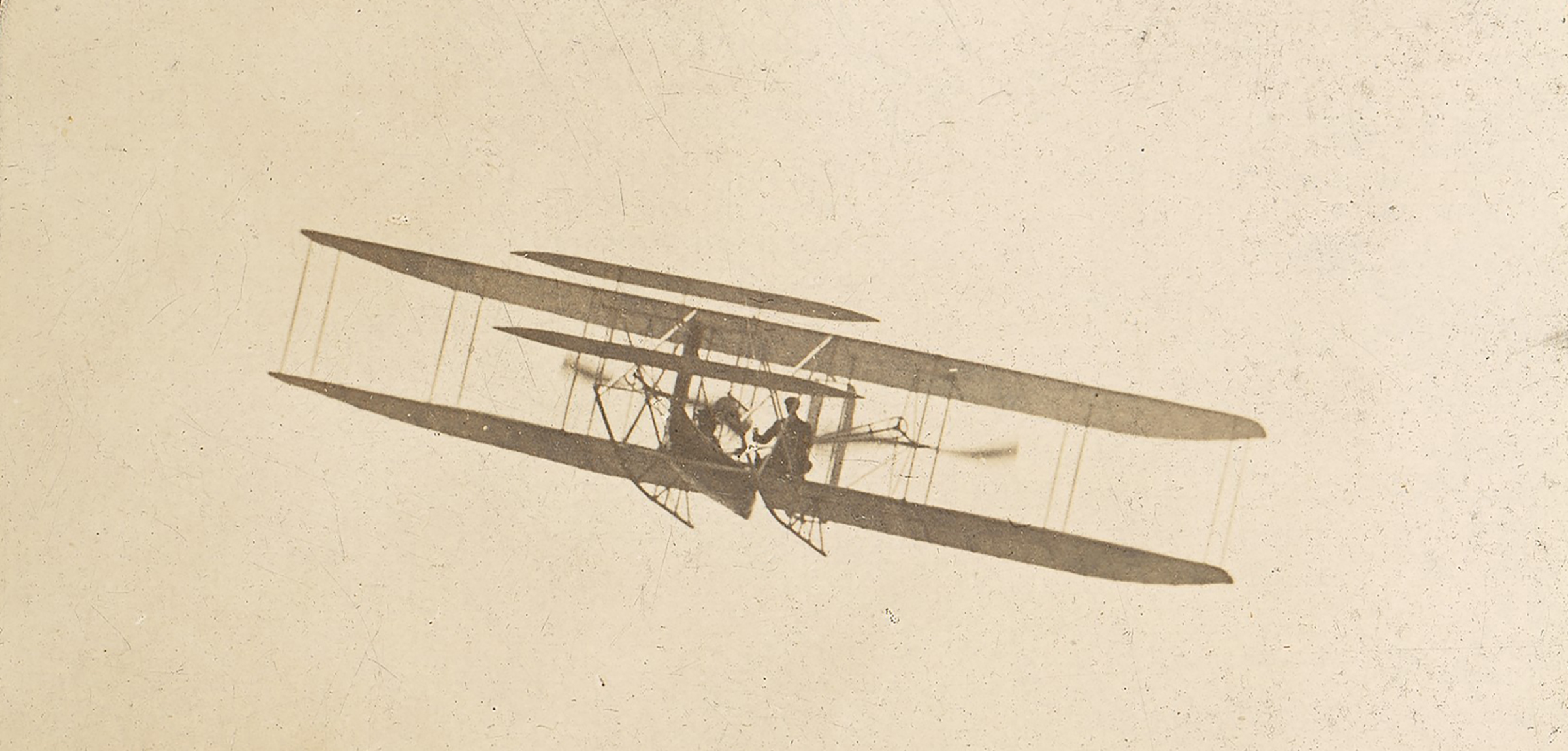 Photograph of Wilbur Wright flying over Governors Island, New York, 1909, by H.C. White.
