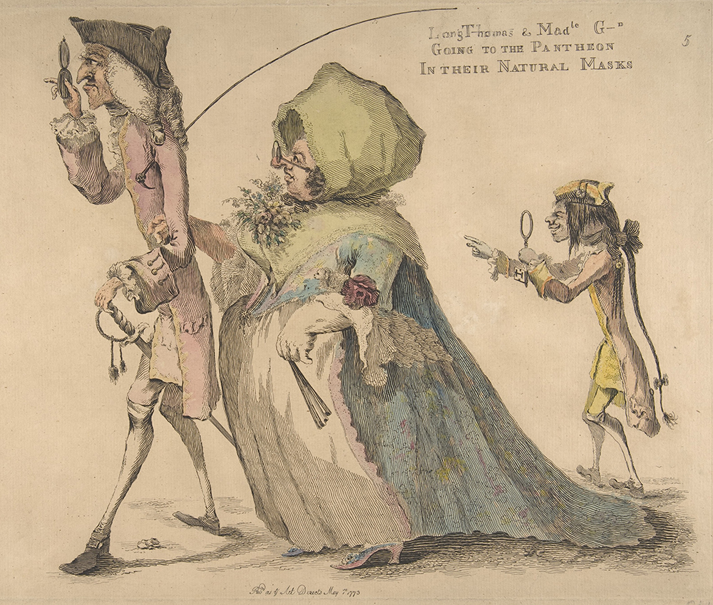 Long Thomas and Mademoiselle G–d Going to the Pantheon in Their Natural Masks, by William Austin, 1773. The Metropolitan Museum of Art, Harris Brisbane Dick Fund, 1917.