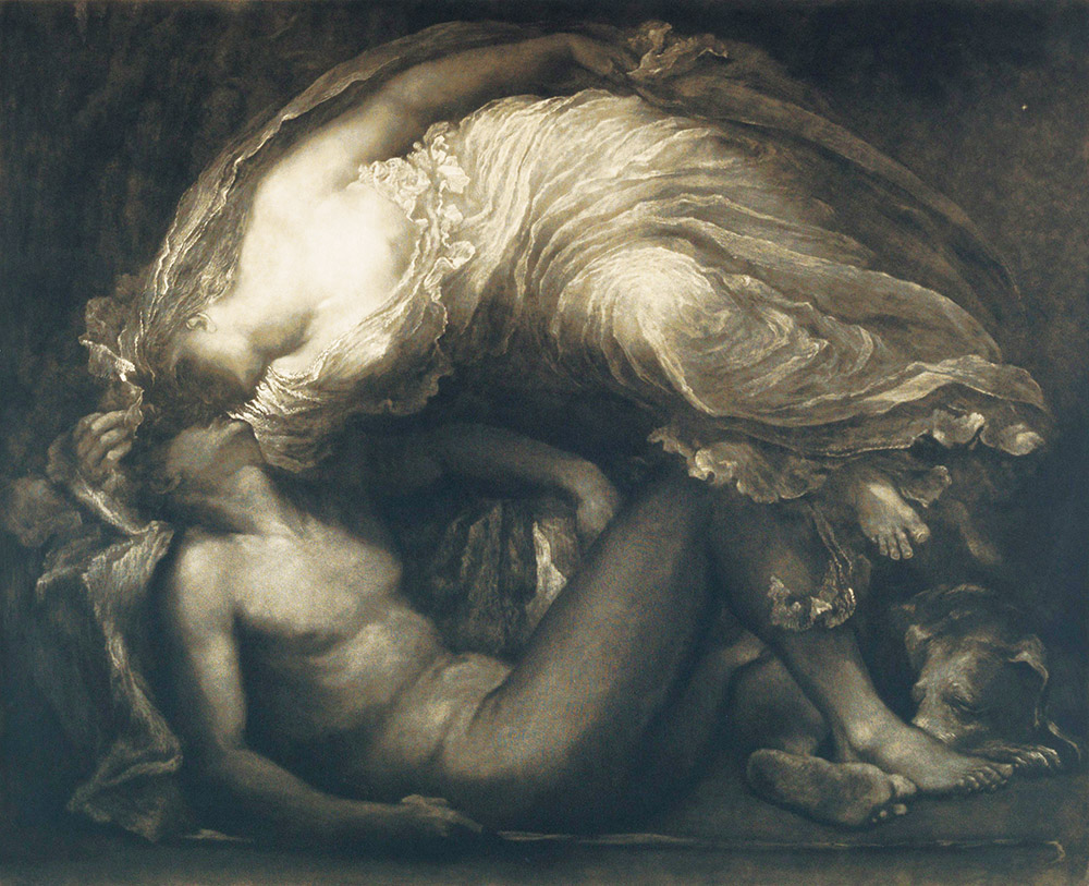 Diana and Endymion, etching by Frank Short after George Frederic Watts, 1891.