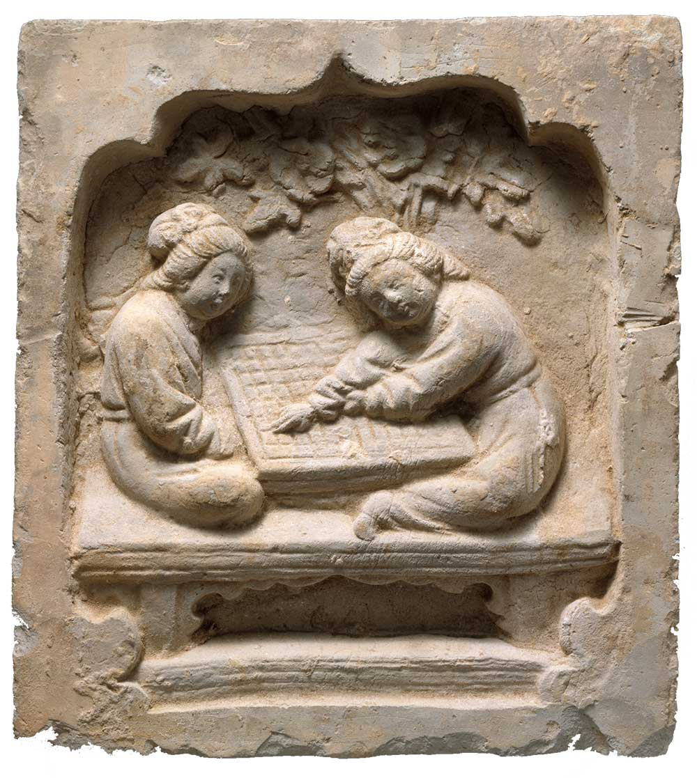 Tile with Women Playing a Board Game, China, thirteenth century.