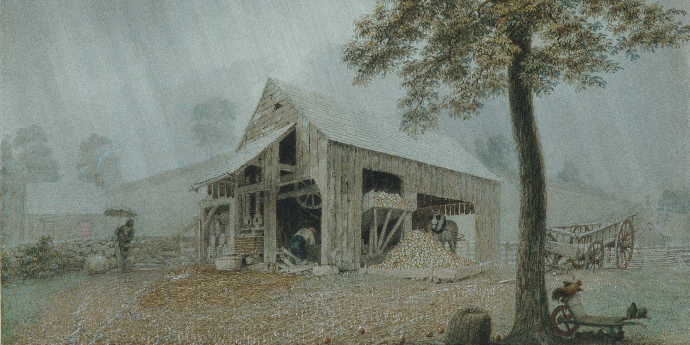Rainstorm—Cider Mill at Redding, Connecticut, by George Harvey, c. 1840. The Metropolitan Museum of Art, Maria DeWitt Jesup Fund and Morris K. Jesup Funds, 1991.