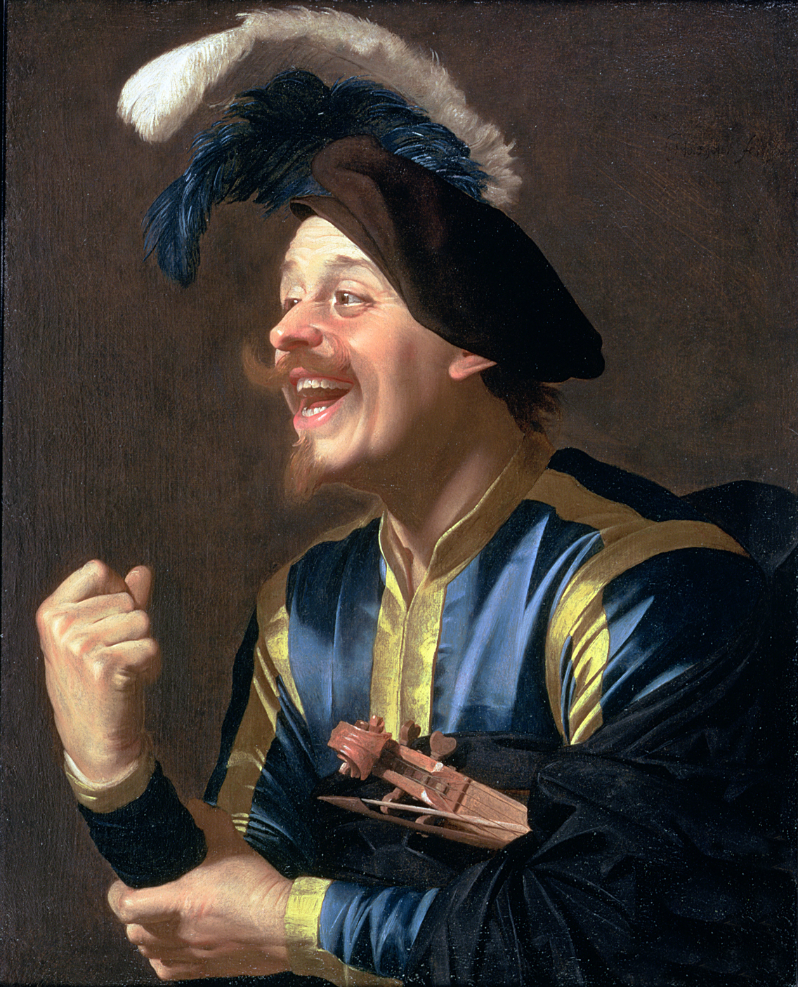 Portrait of a Laughing Violinist, by Gerrit van Honthorst, 1624.