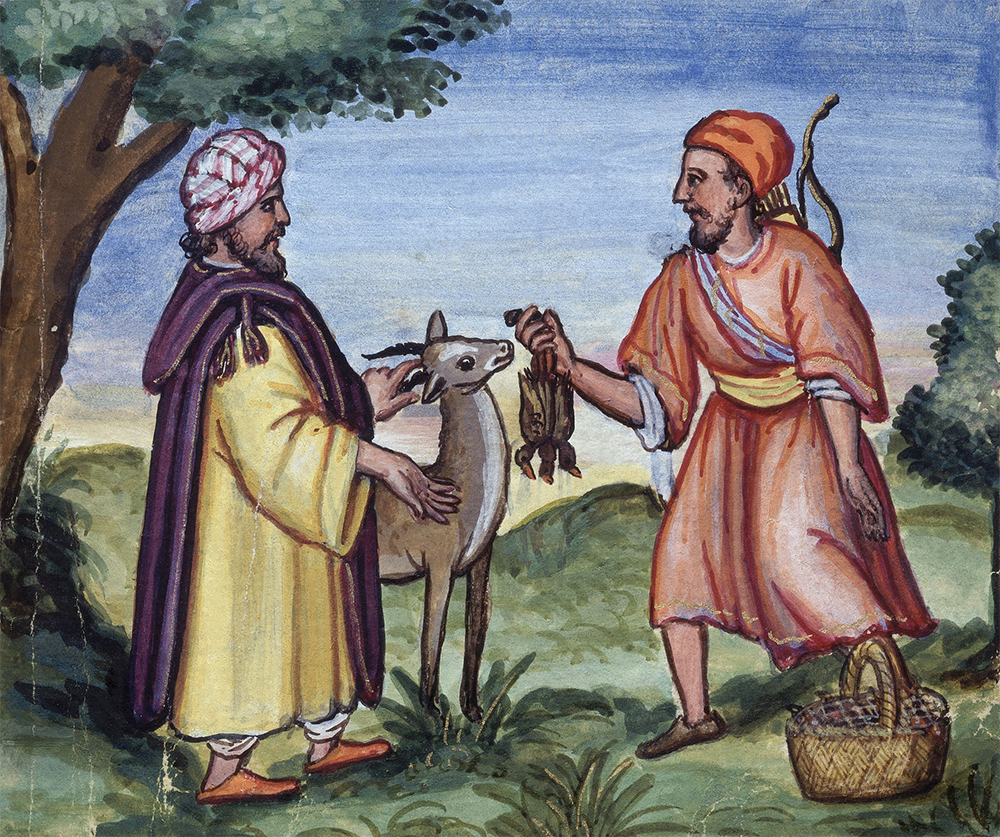 Meeting between a merchant and a hunter, miniature from a sixteenth-century edition of The Just Prince by Ibn Zafar. © Album/Art Resource, NY.
