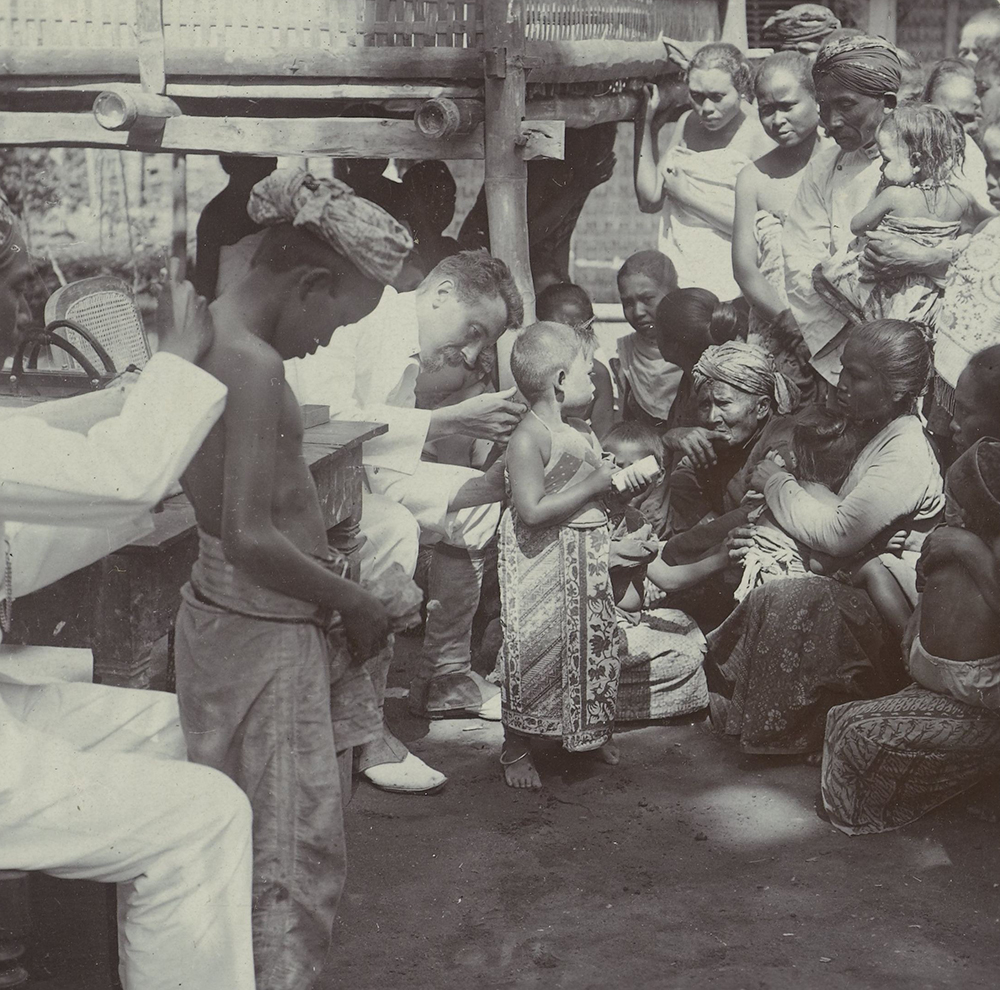 Photograph of children being vaccinated against the plague, Malang, Java, early 20th century