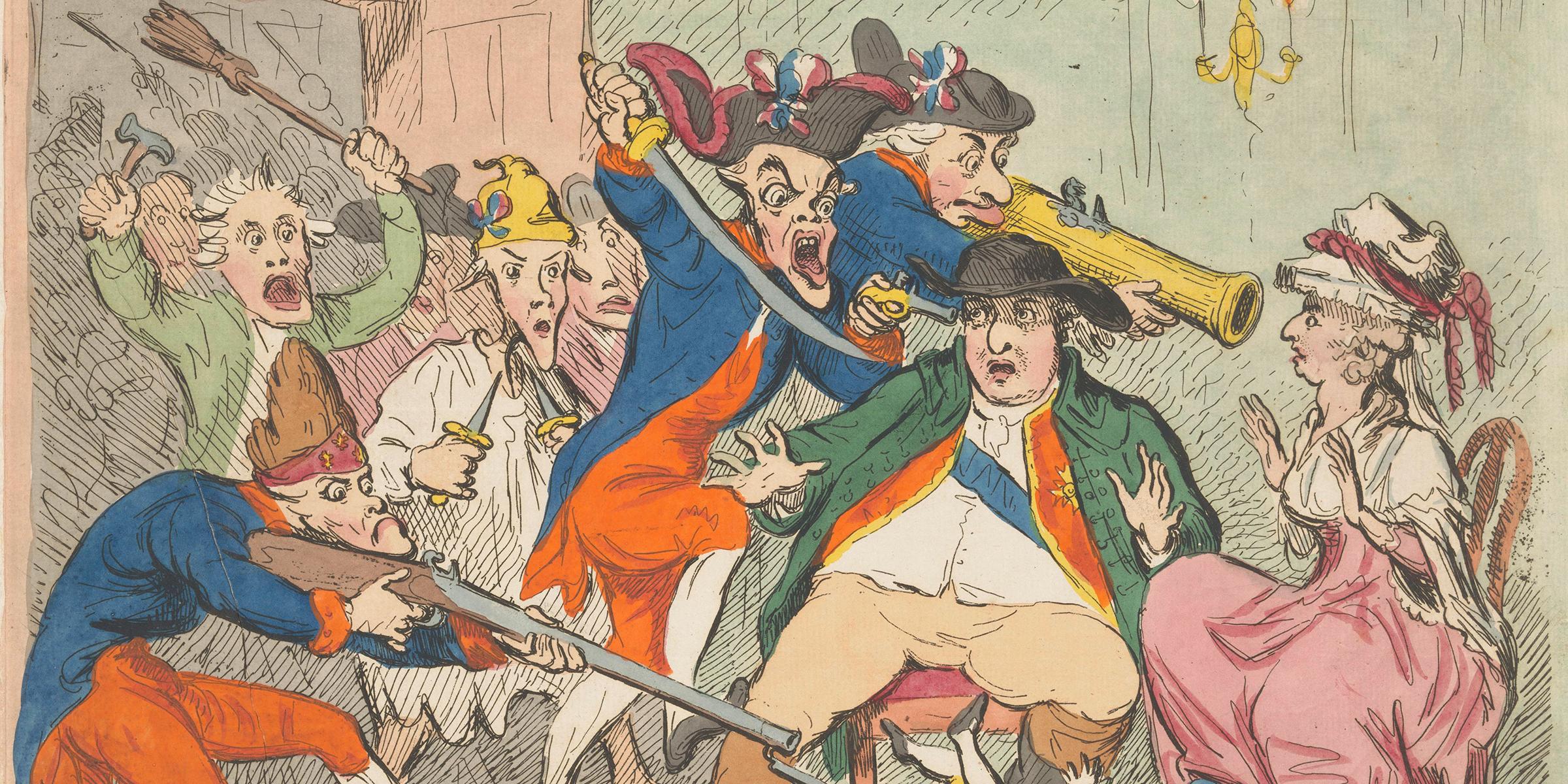 French Democrats Surprising the Royal Runaways (detail), by James Gillray, 1791.