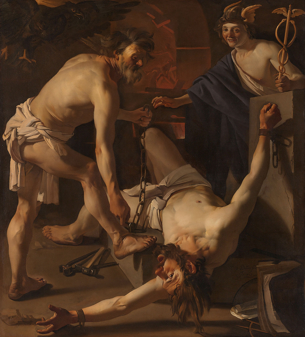 Prometheus Being Chained by Vulcan, by Dirck van Baburen, 1623. Rijksmuseum.