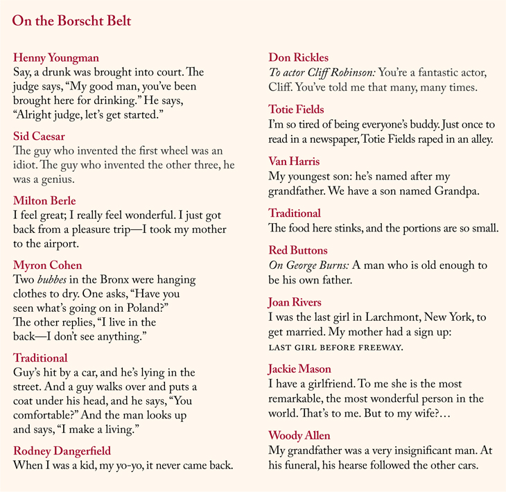 Famous one-liners from Jewish comedians.