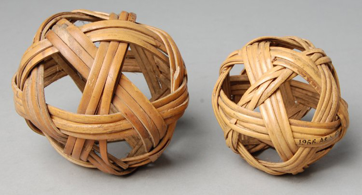 Ball, toy, foot-ball made of rattan.