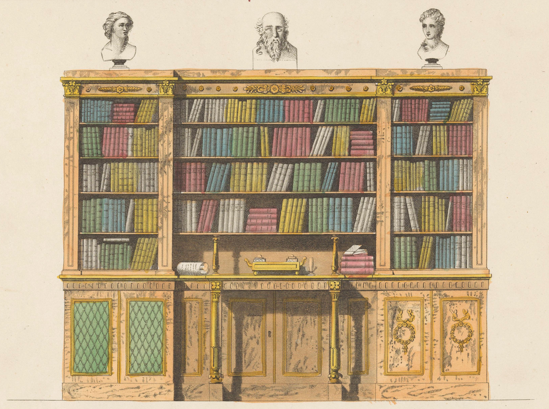 Bookcase With A Secretary, By Anonymous, After Michael Angelo Nicholson,
