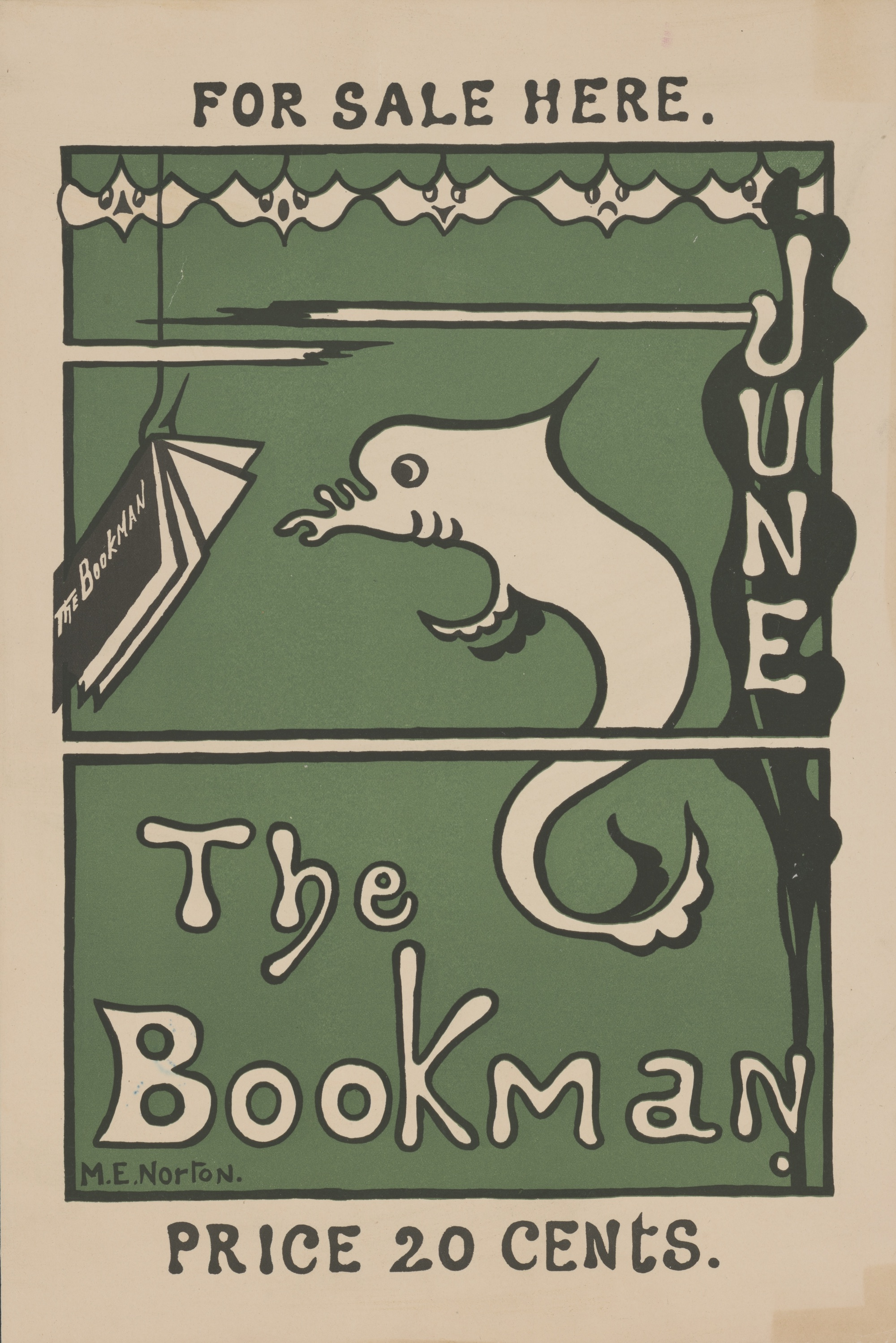 "An advertisement for the Bookman. On a green background, a drawing of a fish reading a copy of the Bookman dangling from the hook on a fishing line. The ad is for June and says ""For Sale Here"" and ""Price 20 cents"""