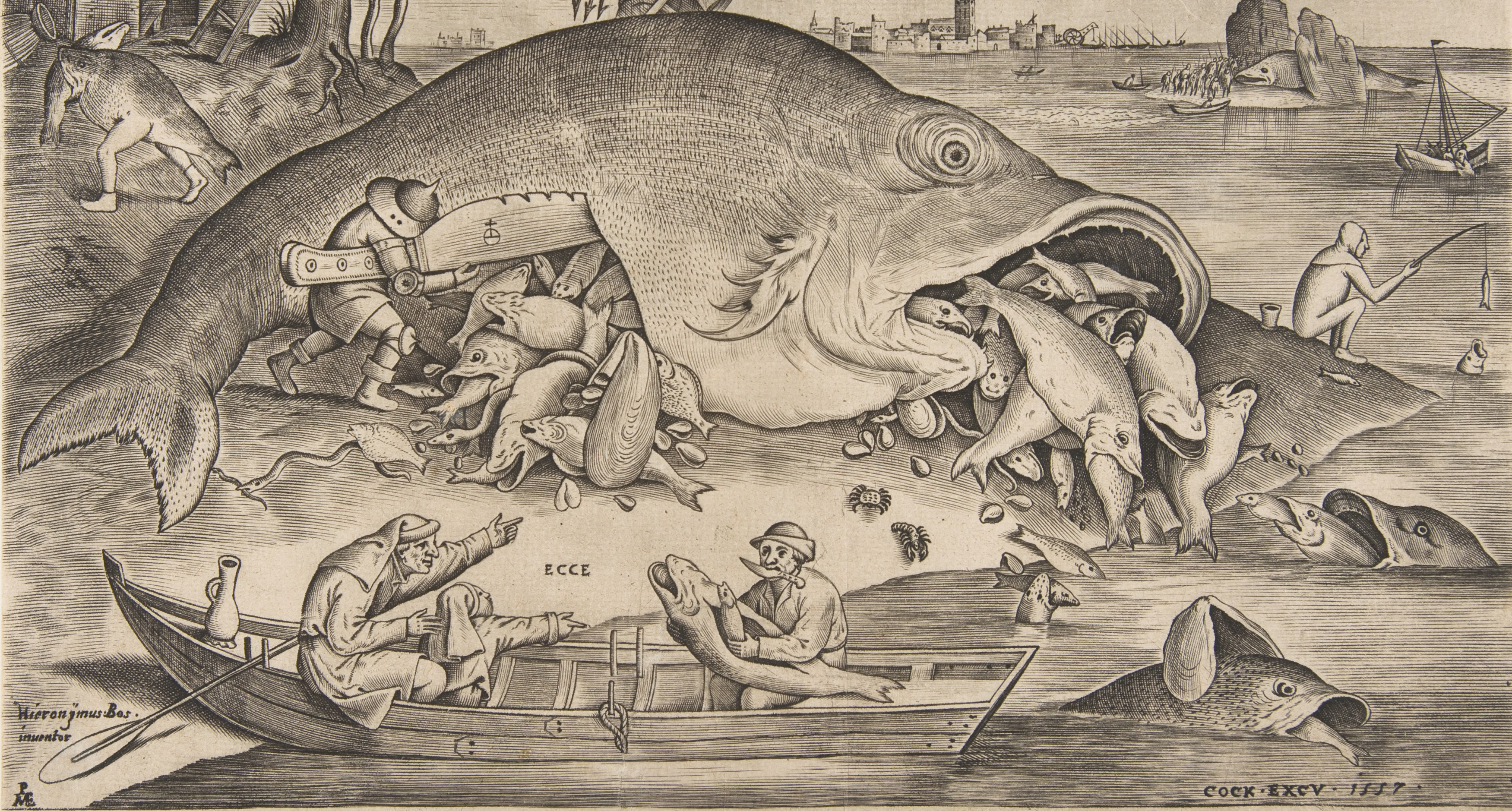 "Detail of ""Big Fish Eat Little Fish,"" by Pieter Bruegel the Elder, engraving by Pieter van der Heyden, 1557."