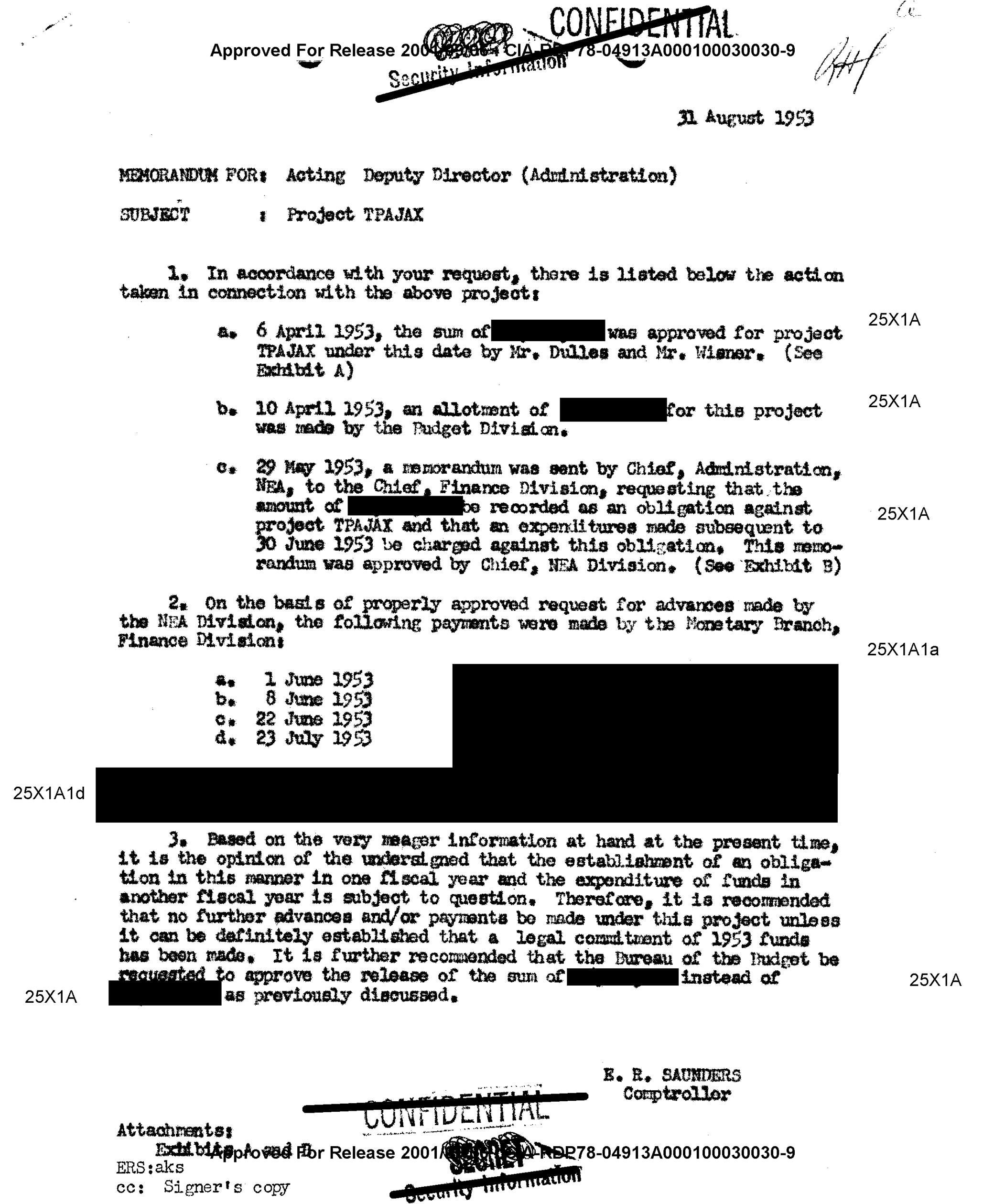 Project TPAJAX, 1953. Central Intelligence Agency, General CIA Records.