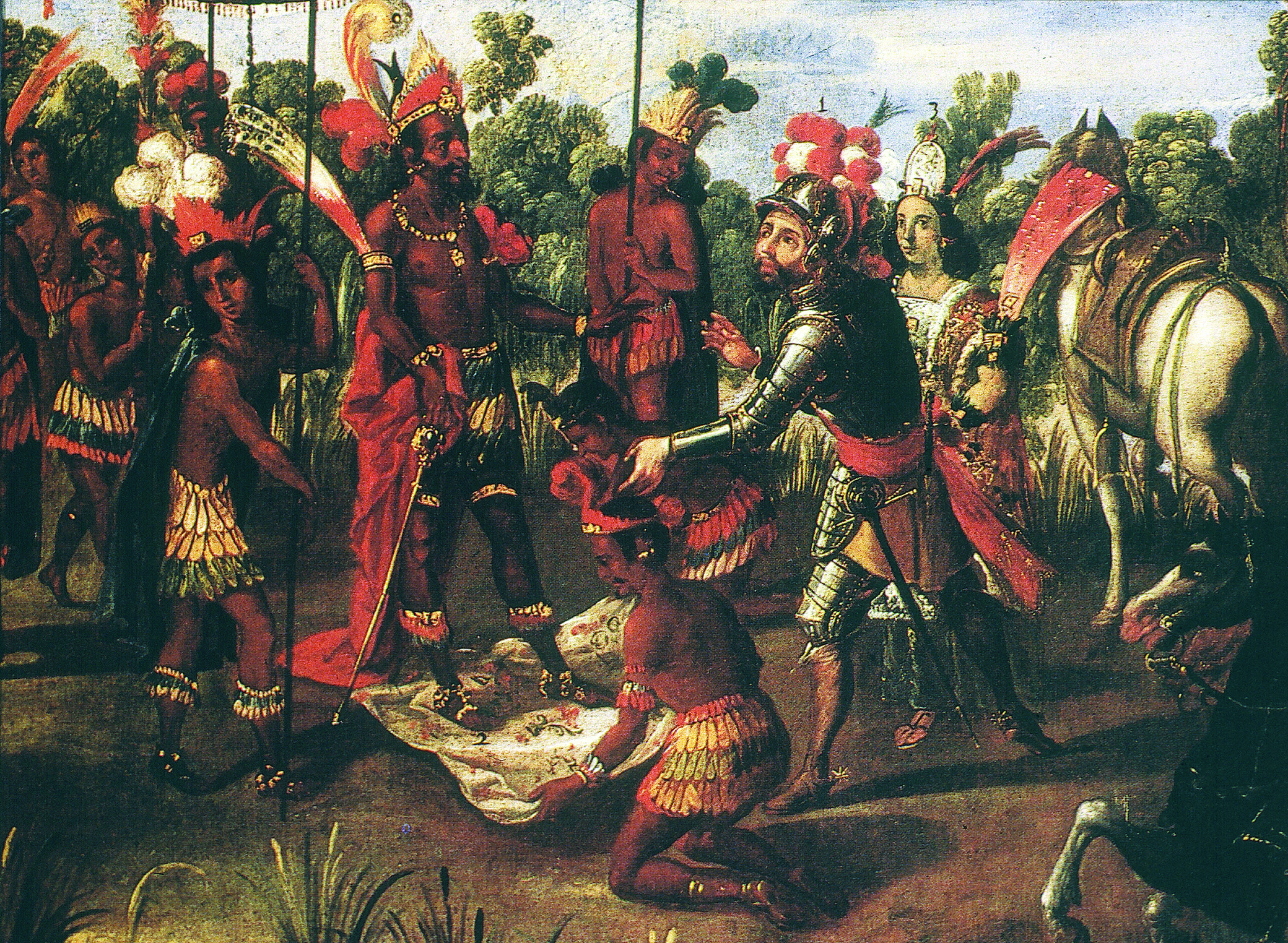 The Meeting of Cortés and Moctezuma, from the Conquest of México series, Mexico, second half of seventeenth century. Library of Congress, Rare Book and Special Collections Division, Jay I. Kislak Collection.