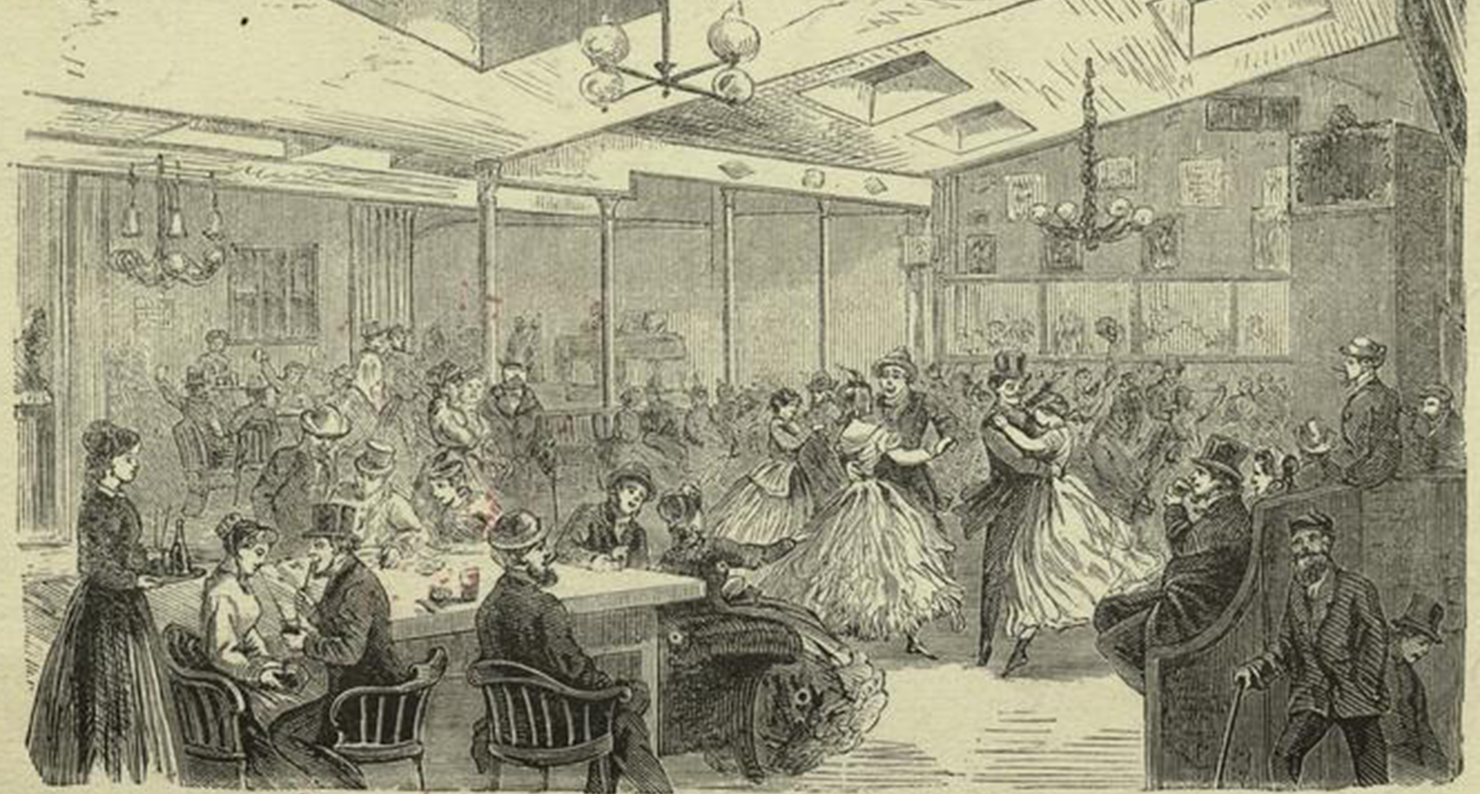 """""""Inside Harry Hill's Dance-House,"""" Houston Street near Broadway, New York City, 1869. The New York Public Library Digital Collections."""