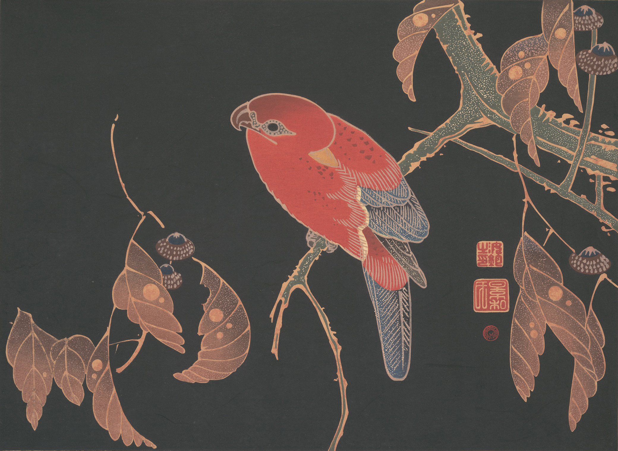 Red Parrot on the Branch of a Tree, by Itō Jakuchū, c. 1900. The Metropolitan Museum of Art, Rogers Fund, 1925.