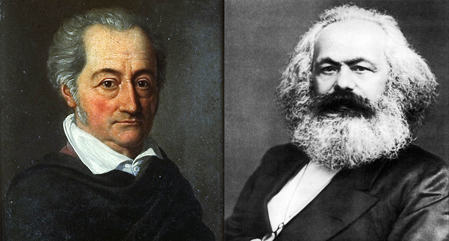(L) Johann Wolfgang von Goethe (1749–1832), by Karl Josef Raabe, 1814. Wallraf-Richartz-Museum. (R) Karl Marx, 1875. Photograph by John Jabez Edwin Mayall. International Institute of Social History.
