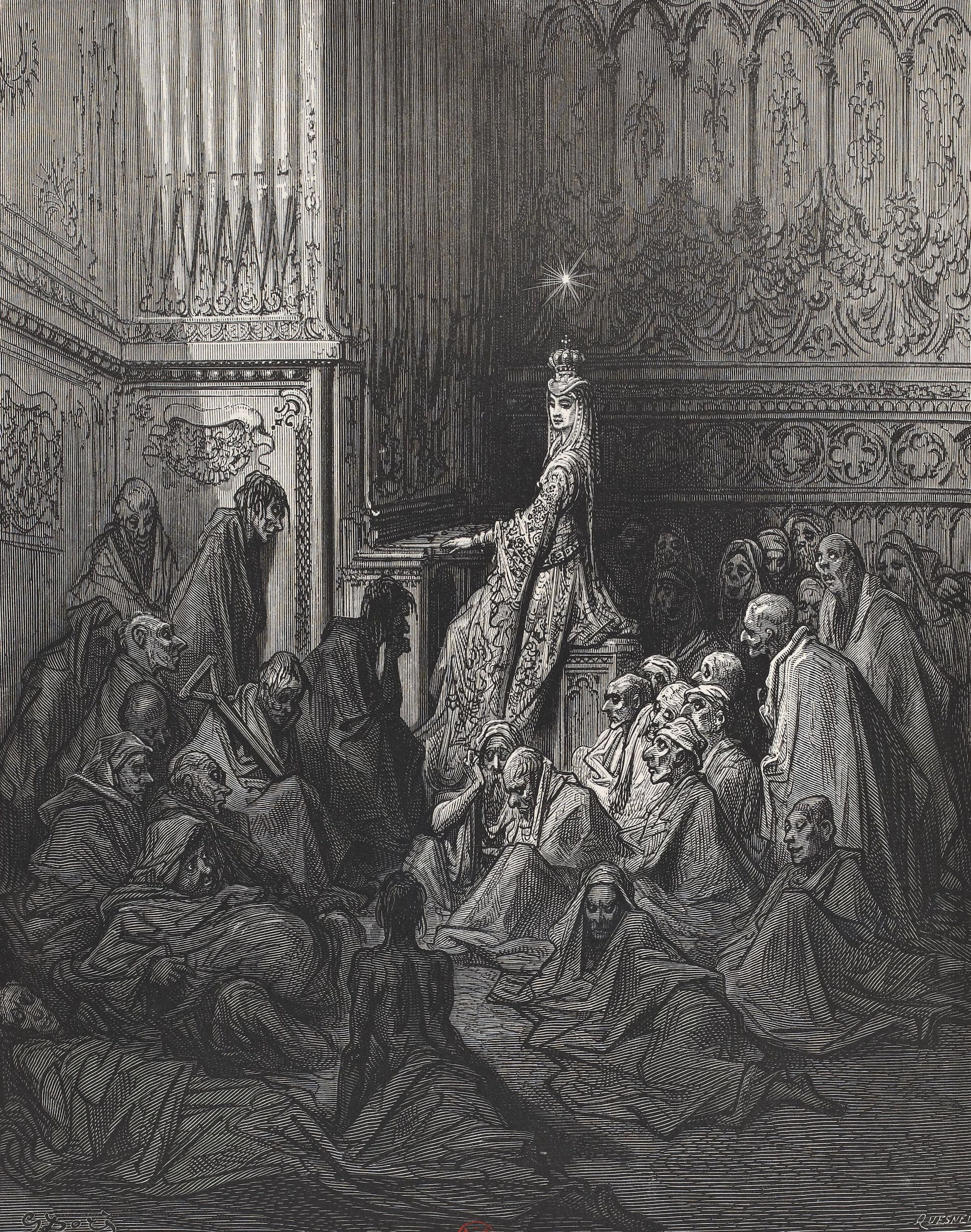 An illustration of Queen Whims playing an organ and curing the sick. A beautiful queen sits an an organ, surrounding by ill people in rags.