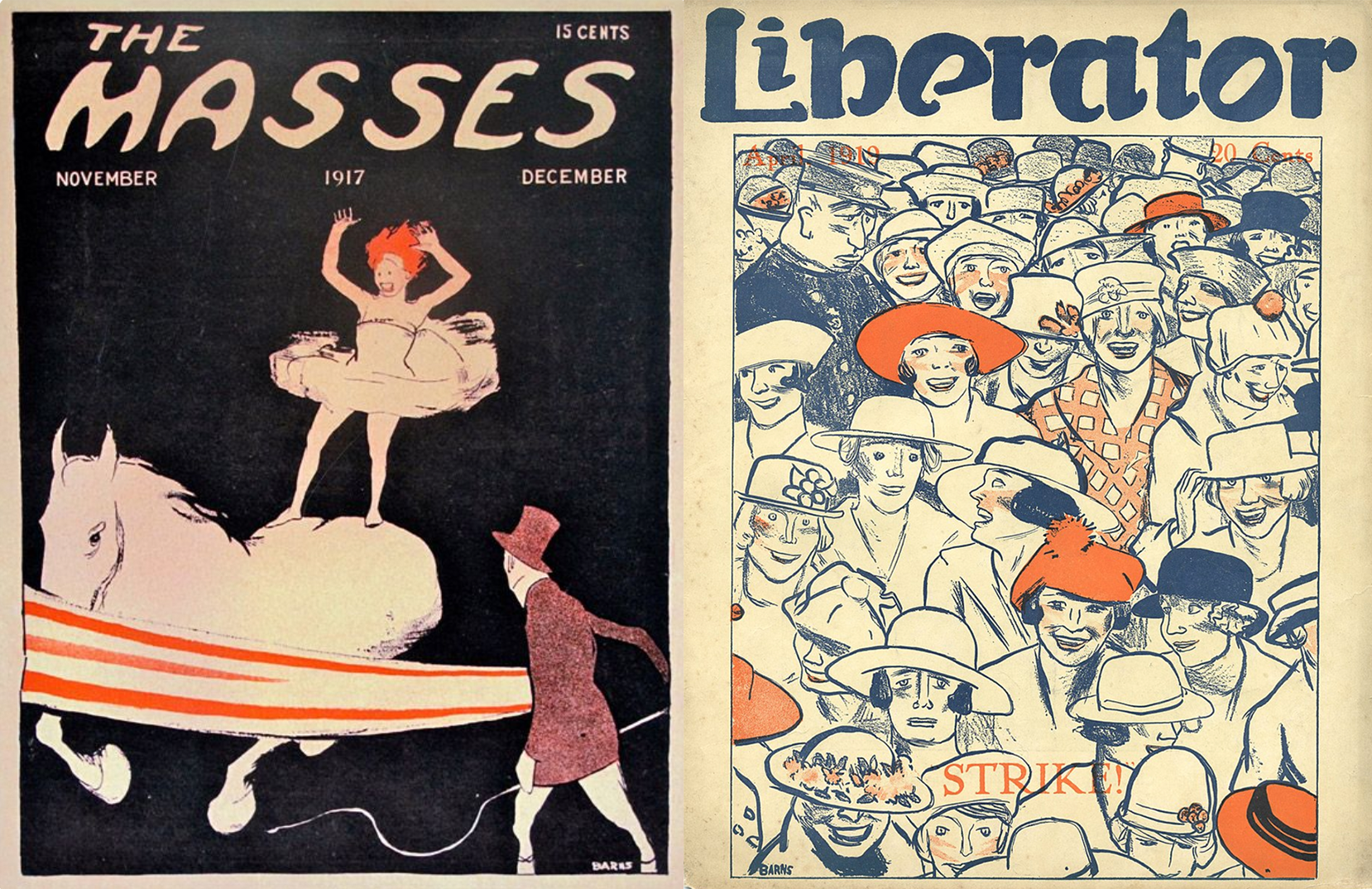 "Two cover illustrations by Cornelia Barns: ""Untitled (Circus Scene),"" The Masses, November–December 1918; ""Strike,"" The Liberator, April 1919."