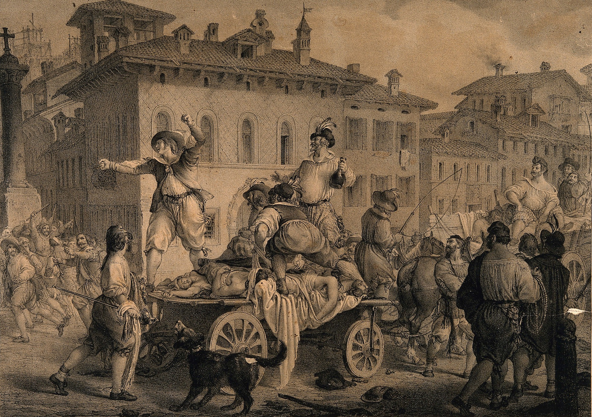 A lithograph showing a scene from Manzoni's novel The Betrothed where people in Milan accuse others of spreading disease.