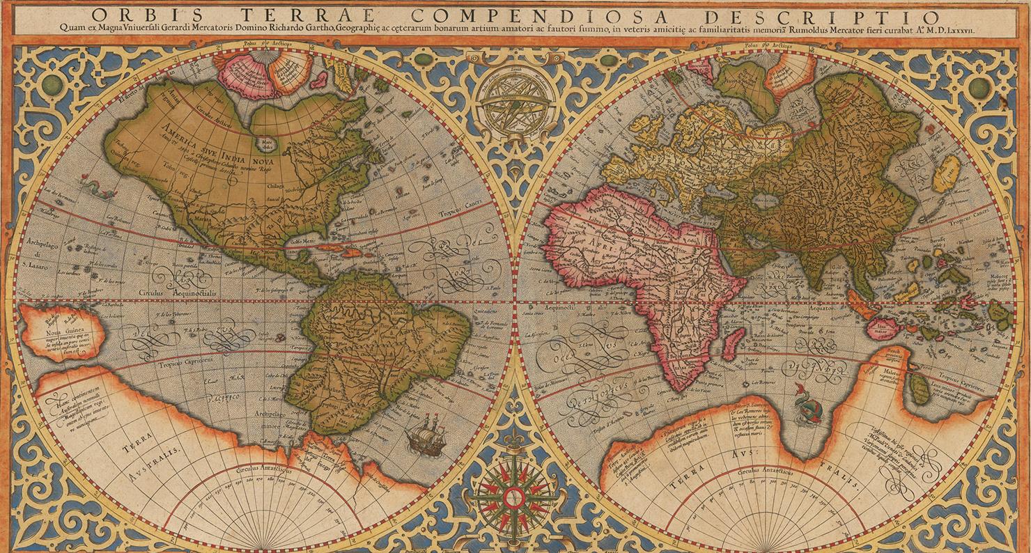 Orbis Terrae Compendiosa Descriptio, By Rumold Mercator, 1587, Based On A  1569 Map