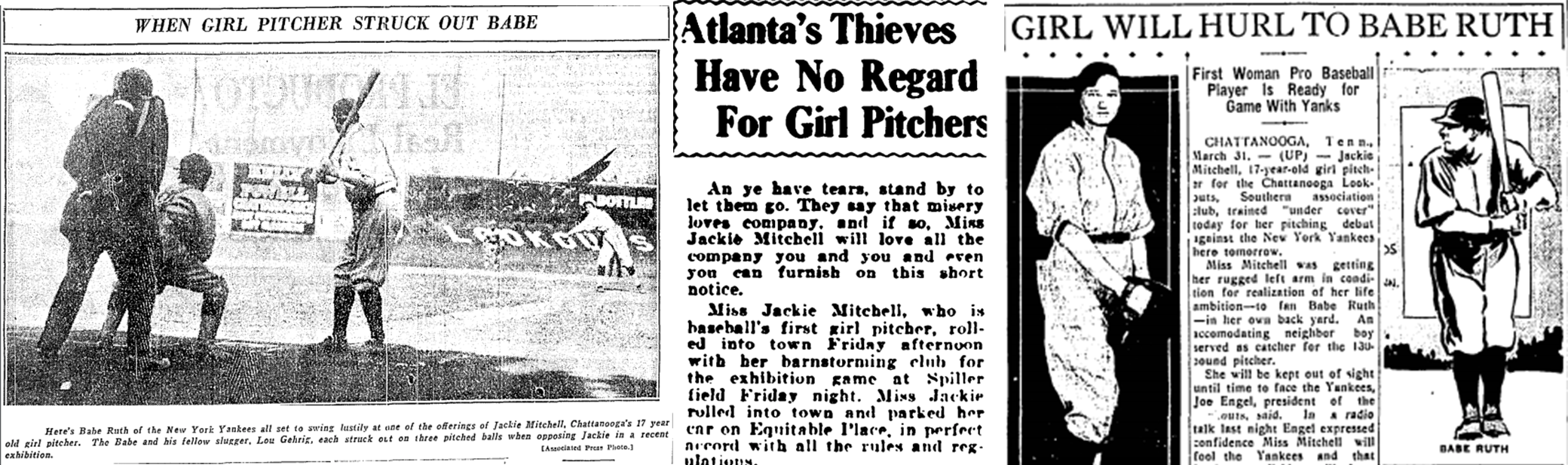 Headlines about Jackie Mitchell from the Chicago Daily Tribune, April 6, 1931; the Atlanta Constitution, June 27, 1931; and the Austin Statesman, March 31, 1931.
