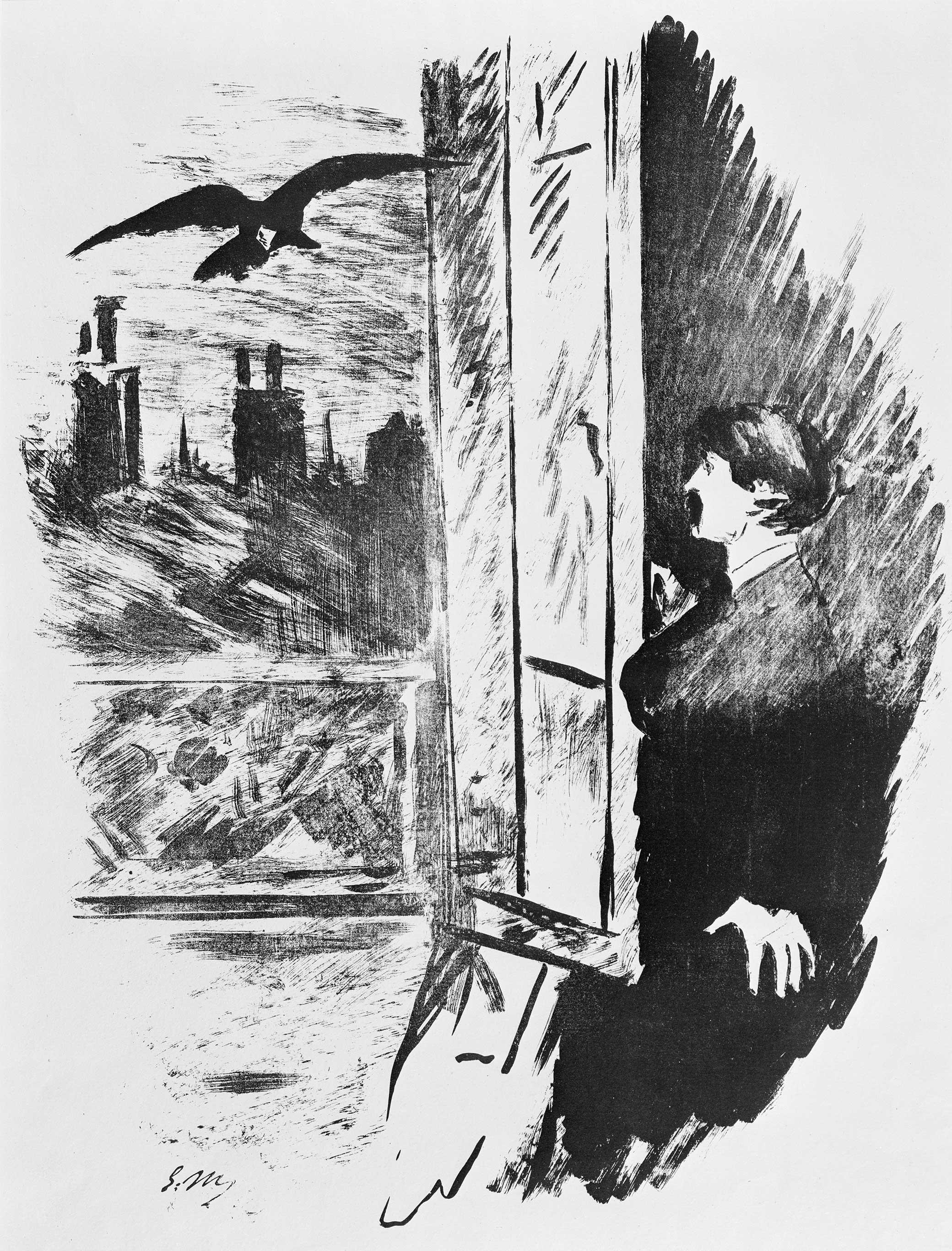 "Open Here I Flung the Shutter, illustration to Edgar Allan Poe's ""The Raven,"" by Edouard Manet, 1875."