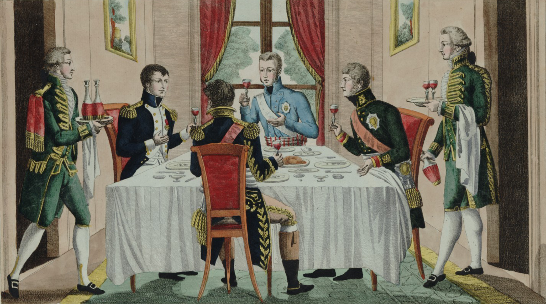 Dinner with Napoleon, Alexandre I, and Frederick III, 1807. National Library of France, Prints and Photographs Department.