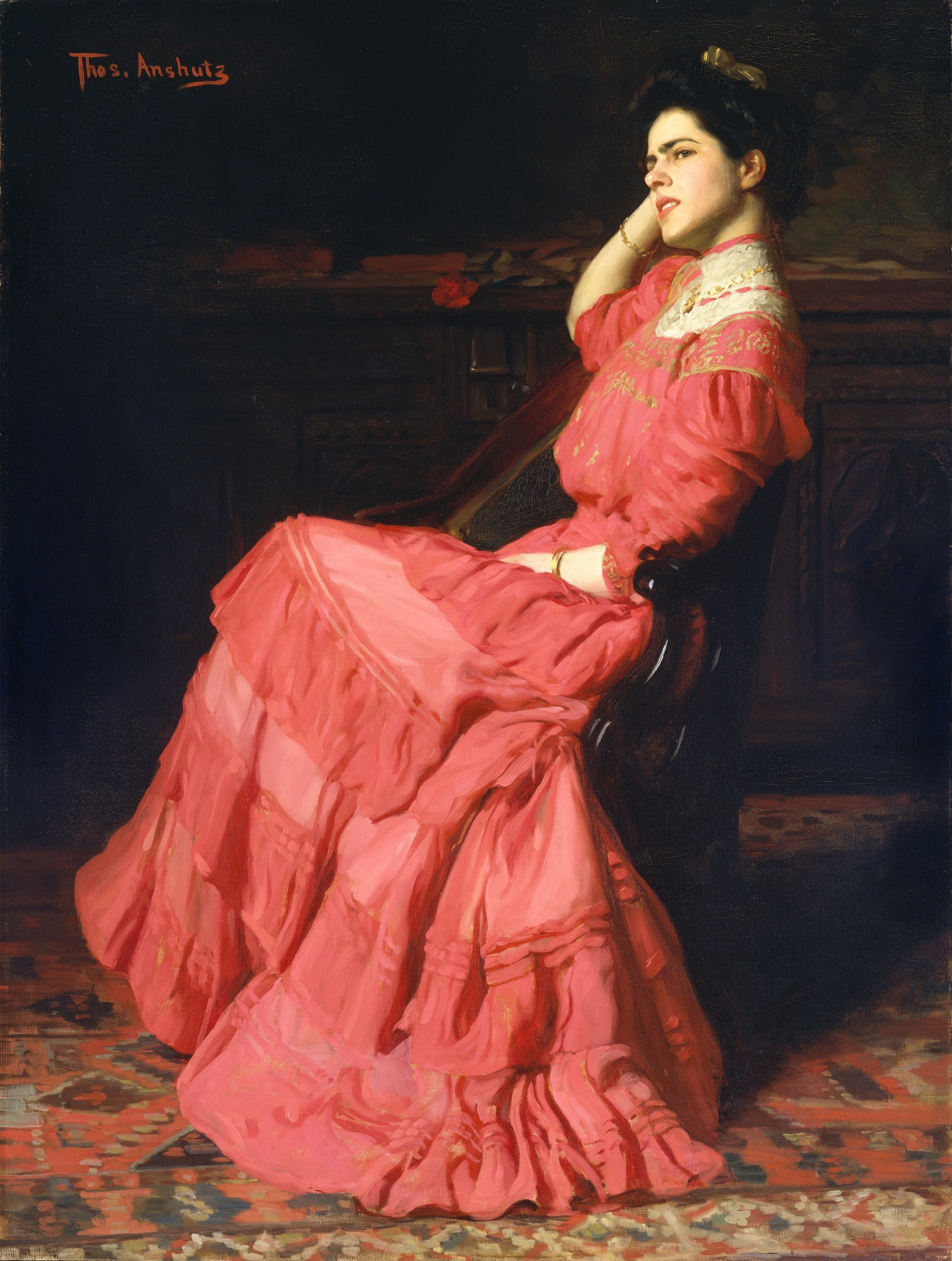 A painting of a young woman in a fluffy pink gown. She is seated in a chair facing sideways. Her head is rested in her hand and she looks skeptical or perhaps perturbed.
