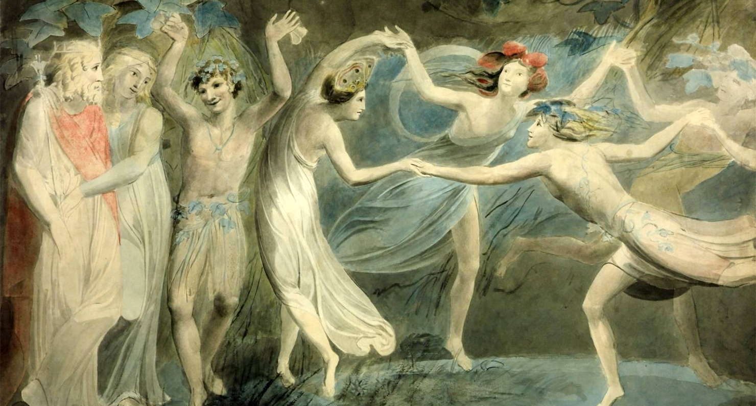 Oberon, Titania and Puck with Fairies Dancing, by William Blake, c. 1786.