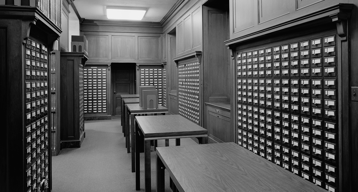 U.S. Department of the Interior, First Floor, Wing 1100 West, Library, Card Index Alcove.