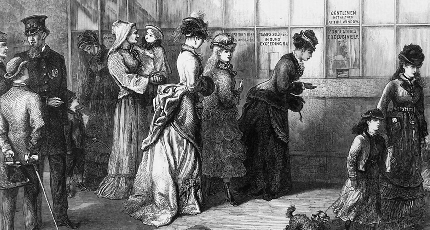 American Sketches: The Ladies' Window at the New York Post-Office, c. 1875.