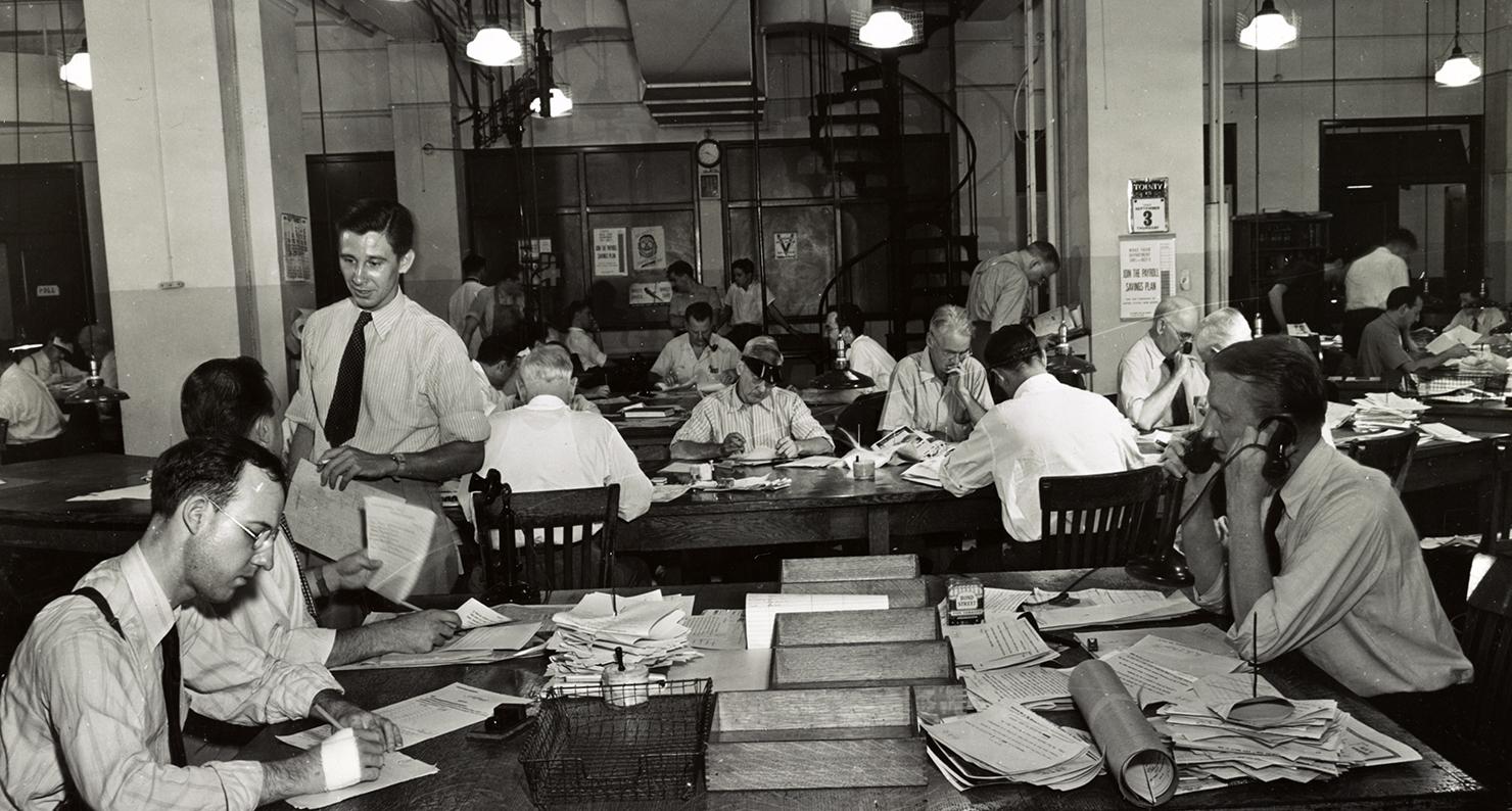 Newsroom of the New York Times, 1942.