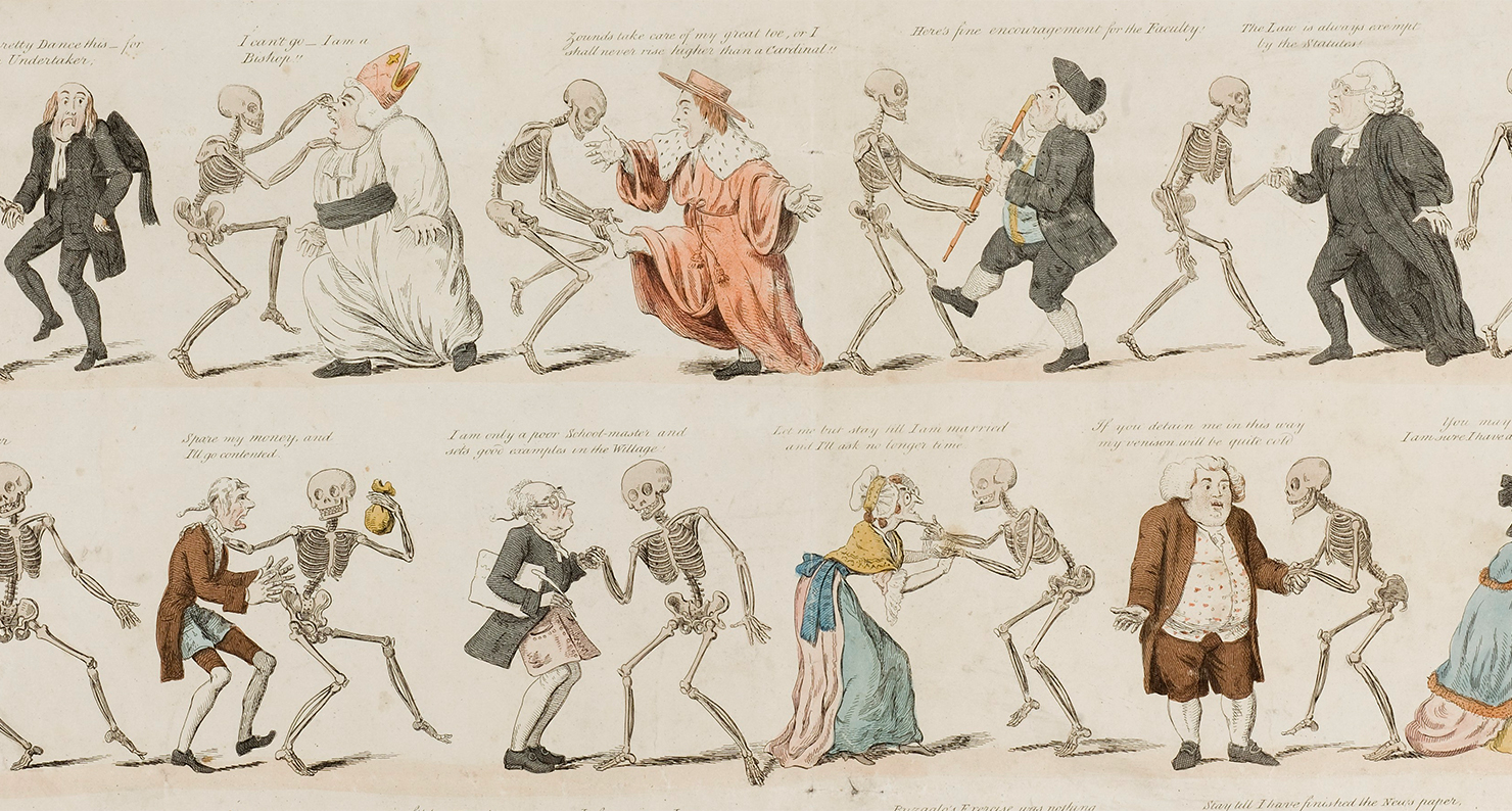 The dance of death modernised, etching by Isaac Cruikshank after G.M. Woodward design, 1808.