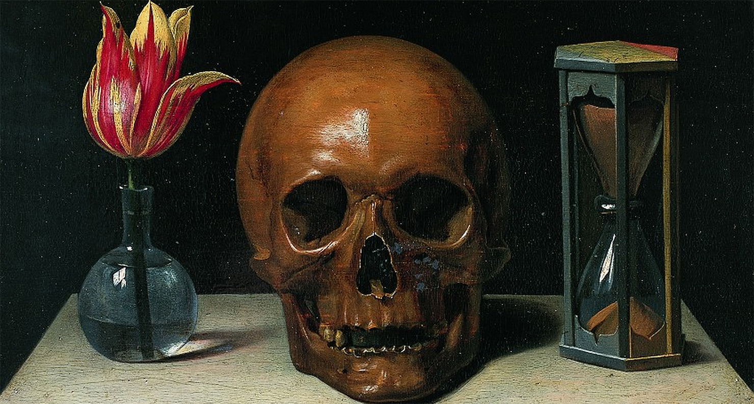 Vanitas Still Life with a Tulip, Skull and Hour Glass, by Philippe de Champaigne, c. 1671.